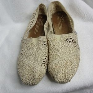 Toms Classic Natural Crochet Slip On Shoes